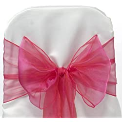 mds Pack of 100 Organza Chair Sashes Bow Sash for Wedding and Events Supplies Party Decoration Chair Cover sash -Magenta
