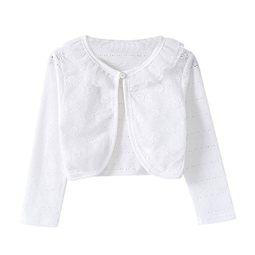 (Little Girls Long Sleeve Lace Bolero Jacket Cardigan Flower Shrug Dress Cover Up White 100)