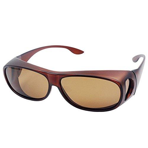 Wear Over sunglasses for men women Polarized lens,fit over Prescription Glasses UV400 (Dark brown)