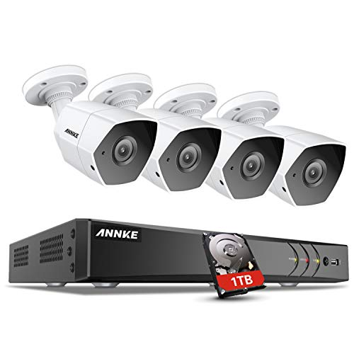 Housing Indoor Clear (ANNKE 3MP Security Camera System 8CH TVI/CVI/AHD/IP/CVBS 5-in-1 DVR with 1TB Hard Drive and (4) 1920x1536p Weatherproof Indoor&Outdoor Cameras, Metal Housing)