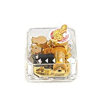 YouTang(TM) Square Creative Transparent Acrylic 18-note Wind-up Musical Box,Musical Toys,Tune:Frozen Let it Go,Clear