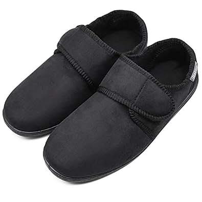 ZTL Men's Wide Width Slippers House Shoes with Adjustable Closures, Memory Foam Diabetic Slippers for Swollen Feet Edema Arthritis Elderly Indoor Outdoor Black