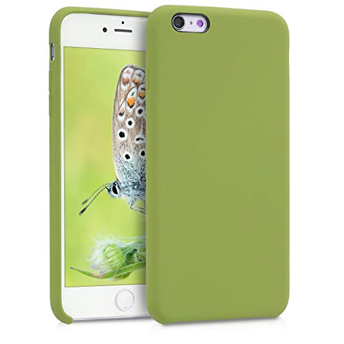 kwmobile TPU Silicone Case Compatible with Apple iPhone 6 Plus / 6S Plus - Soft Flexible Rubber Protective Cover - Pale Olive Green