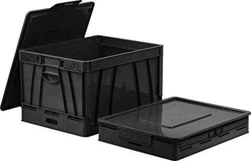 Storex Collapsible Crate with Lid, 17.25 x 14.25 x 10.5 Inches, Black (STX61809U01C)
