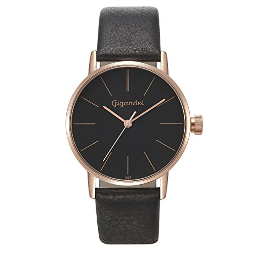 Gigandet Women's Quartz Watch Minimalism Analog Leather Strap Black Rose Gold G43-018
