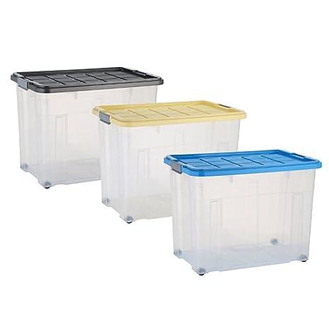 axentia Caja de almacenamiento con tapa y ruedas – capacidad 80 L – 60/40/44,5 cm - Cajonera plegable, Casilla Box de plástico para ropa, juguetes y ...