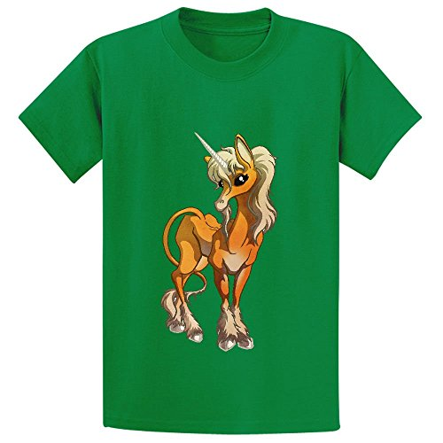 Price comparison product image Unicorn Cute Cartoon Child Crew Neck Cotton Tee Green