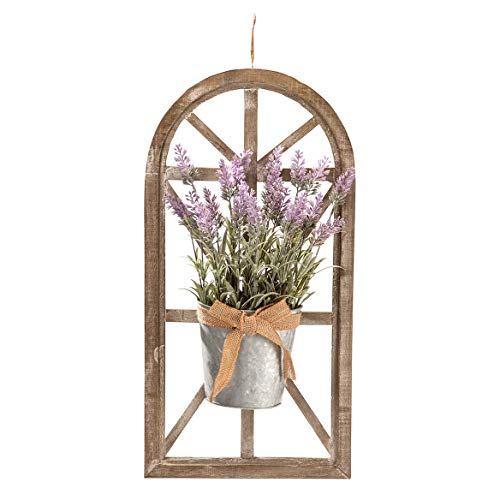 Rustic Home Décor, Window Frame with Lavender Floral Arrangement, 24
