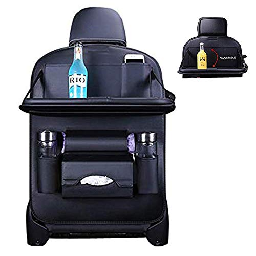 Car Seat Protector Backseat Organizer Table Tray Foldable Dining Table with iPad and Tablet Holder Multi-Pockets Storage, Travel Accessories Organizer (Black Upgrade)