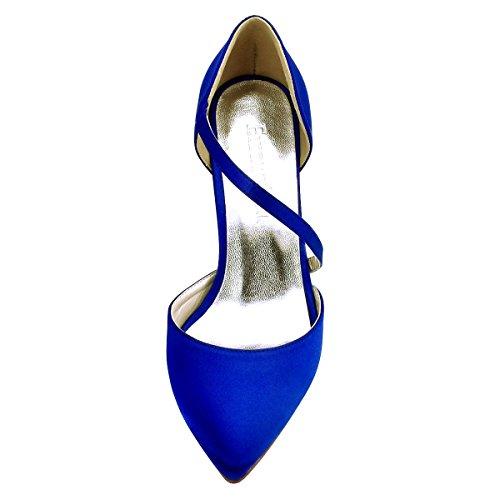 Blu Sposa alti HC1711 tacco Pointed ElegantPark donne scarpe sera Punta D`orsay partito nozze B7xqC