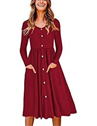 Womens Long Sleeve V Neck Button Down Skater Dress with Pockets