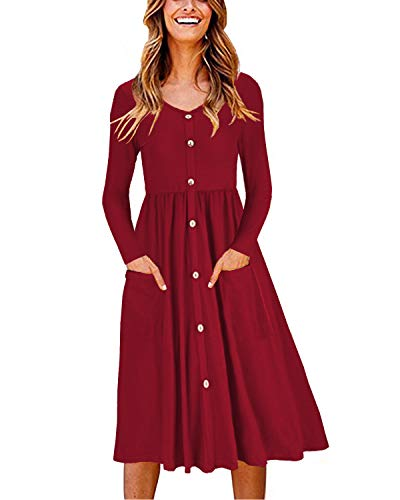 OUGES Women's Long Sleeve V Neck Button Down Midi Skater Dress with Pockets(Wine,XXL)