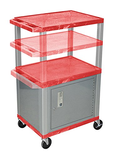 Luxor Stainless Steel Rolling Multipurpose Utility Storage Cart with Locking Cabinet Red and Nickel