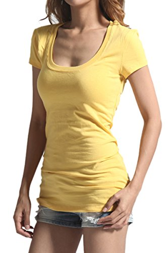 (TheMogan Women's Scoop Neck Short Sleeve T-Shirts Cotton Tee Yellow L)