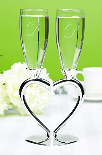 Silver Heart Shaped Stem Wedding Toasting Glasses Flutes