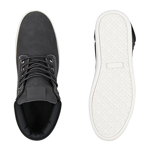 Herren Sneaker High Basic Turnschuhe Leder-Optik Schuhe Freizeitschuhe Schnürer Schnürschuhe Flandell Grau Basic
