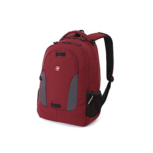 Swiss Gear SA6907 Laptop Computer Tablet Notebook Backpack - for School, Travel, Carry On Luggage, Women, Men, Student, Professional Use - Crimson Red, 19 Inches (Plenty Carry On)
