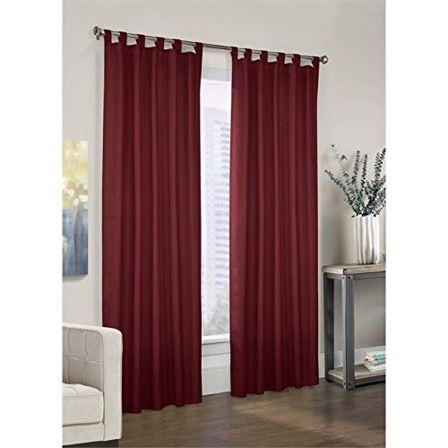 Thermalogic Prescott Insulated Tab-Top Panels, 80 Inches by 84 Inches, Burgundy