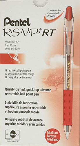 (Pentel R.S.V.P. RT Retractable Ballpoint Pen, 1.0mm Tip, Red Ink, Box of 12 (BK93-B))
