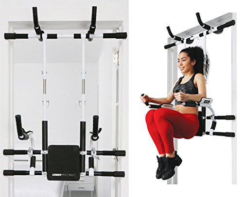 Doorway Fitness Tower: Adjustable n Portable Multi Functional Power Tower / Pull up bar Chin up bar Push up Dip station Asb Legs +72 Workout Variation / Total Body Home Gym Solution / All in 1 by FITNATURAL