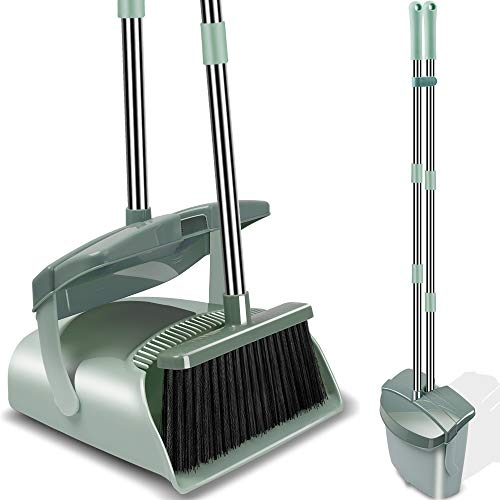 Kelamayi Broom and Dustpan Set with Lid, Long Handle Stainless Steel & Light Weight Lobby Broom Combo, Upright Dust Pan Ideal for Home, Kitchen, Room, Office Use (Jade - Steel Dust Pan Lobby