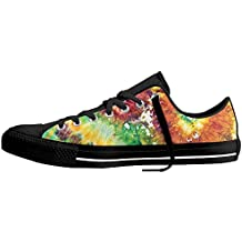 Jidfnjg Abstract Motif With Hazy Psychedelic Color Elements Contours Stained Artsy Print Canvas Sneakers For Boys And Girls.