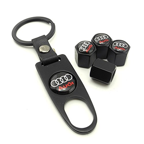 iDoood Set of 4 Car Tire Valve Stem Air Caps Cover + Keychain For Audi - fitness tracker ...
