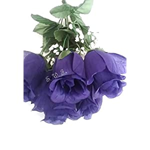 "15"" Rose Bud Bush Silk Wedding Flowers Bouquet Centerpiece Decor 7 Roses (Purple) 2"