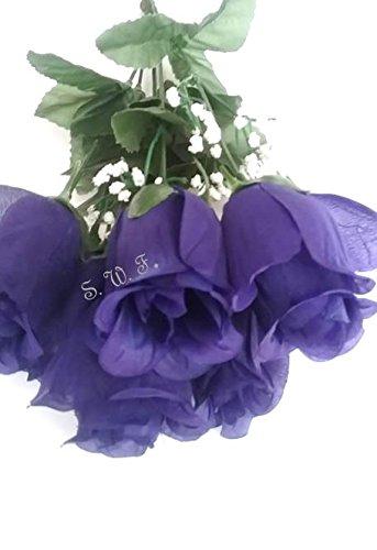 15-Rose-Bud-Bush-Silk-Wedding-Flowers-Bouquet-Centerpiece-Decor-7-Roses-Purple