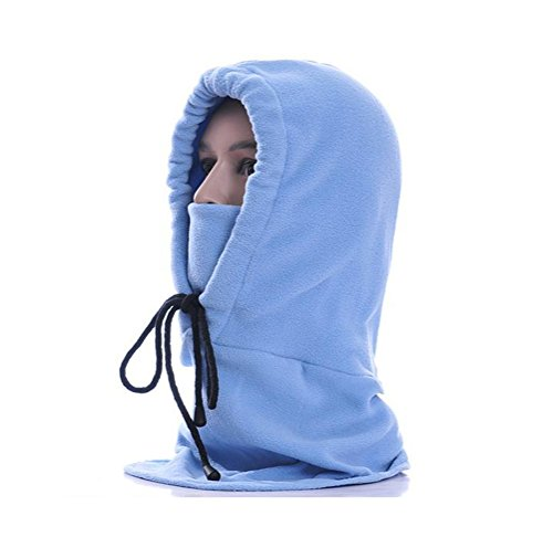 Huafeiwude Windproof Face Mask Hat with Fleece for Women Men Kids Hood Outdoors Light Blue Free Size