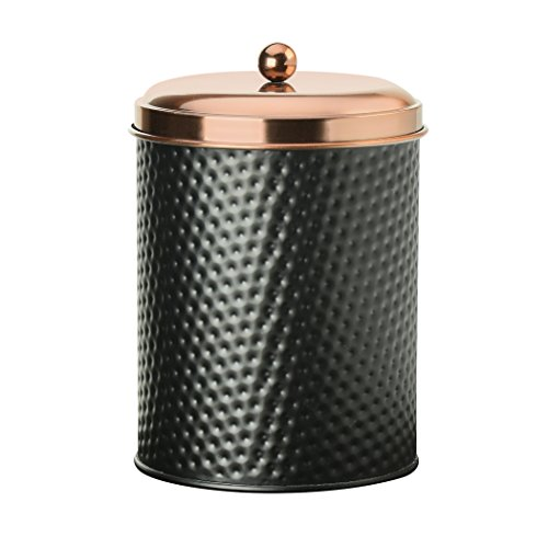 (Amici Home, 7CDI032R, Ashby Collection Hammered Finish Black Matte Metal Storage Canister, Push Top Copper Tone Lid, Food Safe, 70 Ounces (Large))