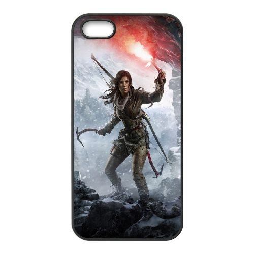 2015 Rise Of The Tomb Raider coque iPhone 5 5S cellulaire cas coque de téléphone cas téléphone cellulaire noir couvercle EOKXLLNCD20997