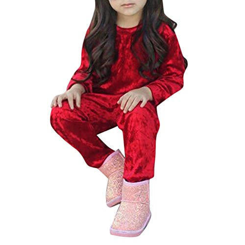 Price comparison product image Kamendita Baby Girl ClothesToddler Kids Baby Girls Boys Long Sleeve Solid Tops+Pants Outfits Set Clothes Warm Outwear