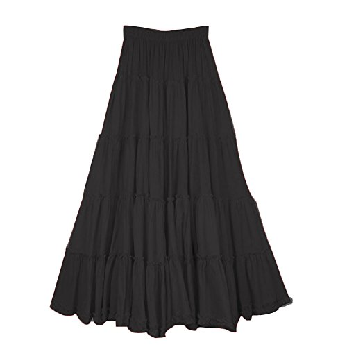Elastic Tiered Boho Long Circle Broomstick Peasant Skirt Dance Black One Size ()