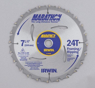 "Irwin GIDDS2-286112 Marathon 7-1/4"" 24 Tooth ATB Framing and Ripping Saw Blade with 5/8"" and Diamond Knockout Arbor"