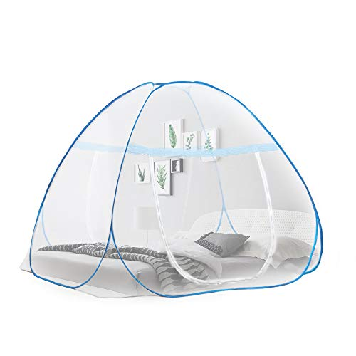 OTraki Pop up Mosquito Net for Bed Camping Baby Crib Anti Mosquito Tent Free Standing Bottomed Bug Nets for Twin to King Size Beds 200x180cm Outdoor Folding Popup Double Large Mesh Canopy 2m x 1.8m