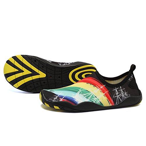 CIOR Kids Water Shoes Quick-Dry Boys and Girls Slip-On Aqua Beach Sneakers (Toddler/Little Kid/Big Kid),W18,W.Rainbow,37 3