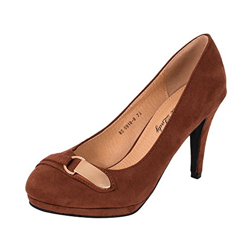 GREENS G9189 Women Fashion Women'sParty Pumps High Heel LadyDress Shoes, BROWN9 - Sexy 4' Heel
