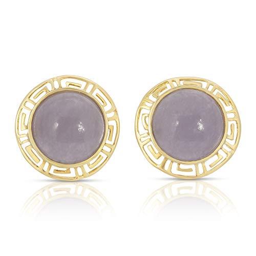 Regalia by Ulti Ramos 14K Yellow Gold Greek Key and Round Lavender Jade Earrings