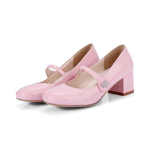 AllhqFashion Damen Blend-Materialien Quadratisch Zehe Mittler Absatz Ziehen auf Pumps Schuhe Pink
