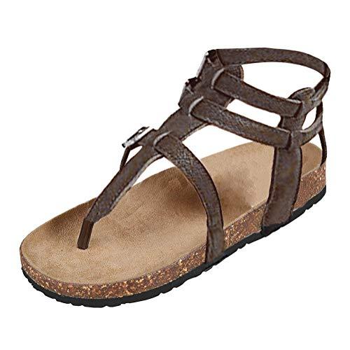 B Été Shoes Marron Chaussures Minetom Plate Toe Décontractée Peep Sandales Romaines Boucle Sandales Printemps Femmes Mode p6RHpA