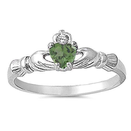 Ring Stone Emerald 3 Genuine (925 Sterling Silver Faceted Natural Genuine Green Emerald Claddagh Heart Promise Ring Size 3)