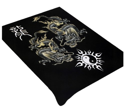 (Dragon And Yin Yang Soft Plush Mink Blanket Full/Queen Size by)