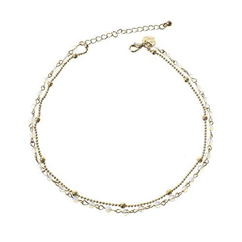 Fettero Dainty Double Layered Gold Chocker Handmade Beaded 14K Gold Fill White Opal Beads (White Beaded Choker Necklace)