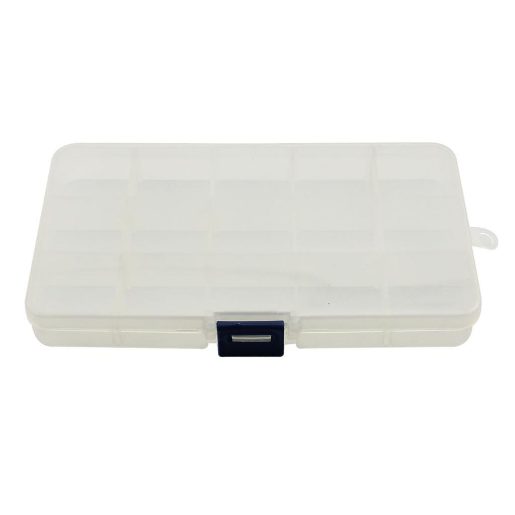 Compact Adjustable 15 Compartment Plastic Storage Box Jewelry Pill Container