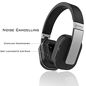 Zoweetek Active Noise Cancelling Apt-X Bluetooth Stereo Over-Ear Headphones, Supporting 3.5mm AUX Wired Audio Input and Volume Control
