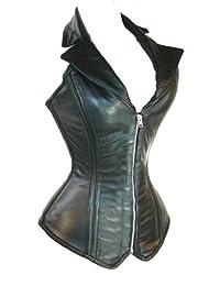 Jusian Women's Push up PU Leather Boned Corset Bustier