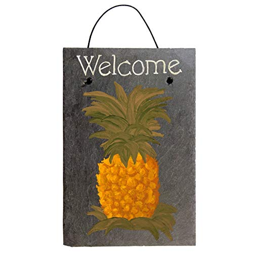 - Welcome Pineapple Chalk Art Painted Sign on 12 by 8 Inch Slate Board