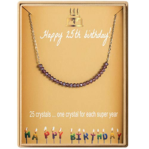 25th Birthday Gifts Necklace for Women S925 Sterling Silver Necklace 25 Crystal Beads for 25 year old Girl Jewelry Gift for Her (Birthday Gift Ideas For 25 Year Old Female)