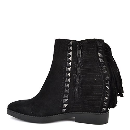 Wedge Black Studded Black Glory Ash Boot Footwear Suede Fringe and 0qnf7w